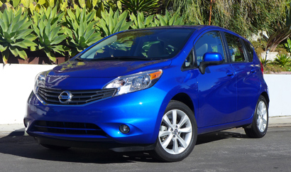 A three-quarter front view of the 2014 Nissan Versa Note SV