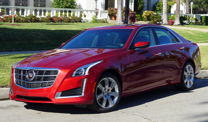 A three-quarter front view of the 2014 Cadillac CTS 2.0T Premium Collection
