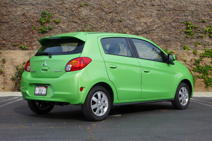 Mitsubishi Mirage ES rear three quarter view