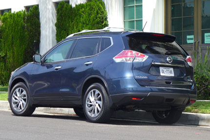 Nissan Rogue rear three quarter view