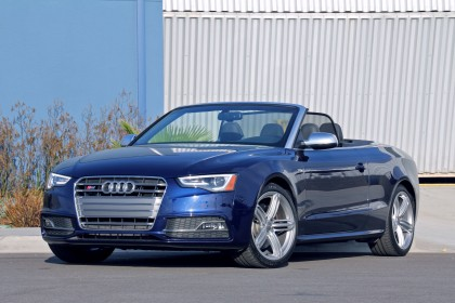 Audi S5 Cabriolet top down front three quarter view