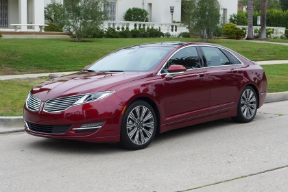 A three-quarter front view of the Lincoln MKZ Hybrid Black Label