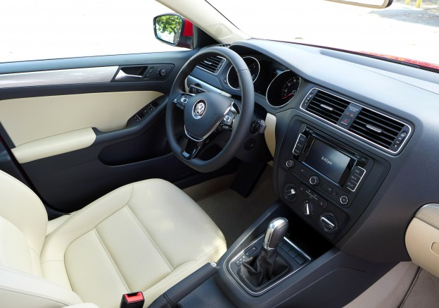 A View Of The Cornsilk Beige Interior Of The 2015 Volkswagen Jetta SE TSi