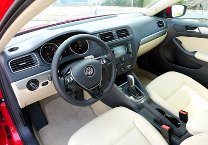Cornsilk Beige Leatherette Interior Of The 2015 Volkswagen Jetta SE TSI