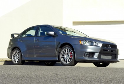 A three-quarter front view of the 2015 Mitsubishi Lancer Evolution GSR