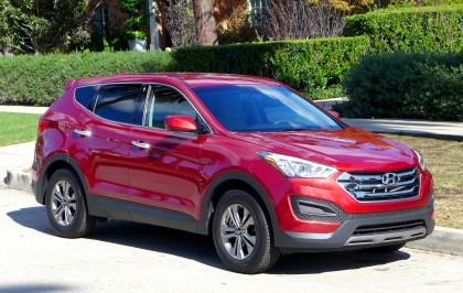 A three-quarter front view of the 2016 Hyundai Santa Fe Sport FWD 2.4
