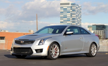 A three-quarter front view of the 2016 Cadillac ATS-V Coupe RWD Manual
