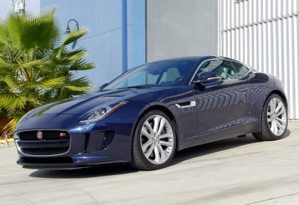 A three-quarter front view of the 2016 Jaguar F-TYPE S Coupe Manual