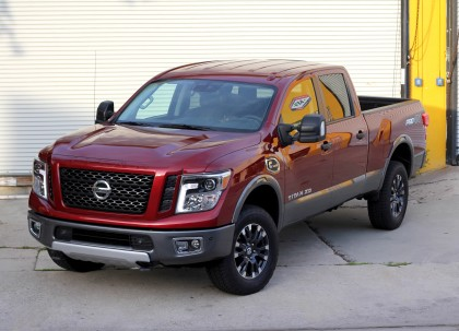 A three-quarter front view of a 2016 Nissan Titan XD Pro-4X