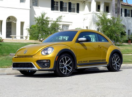 A three-quarter front view of a 2016 Volkswagen Beetle Dune