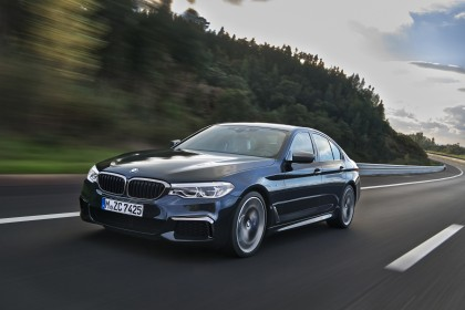 A three-quarter front view of the 2017 BMW M550i xDrive